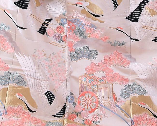 14白地にピンク鶴飛翔 [image 3 of 9]
